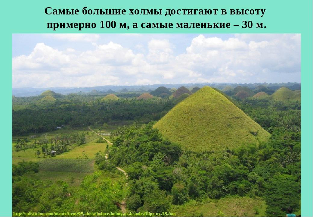 Самые большие холмы достигают в высоту примерно 100 м, а самые маленькие – 30...