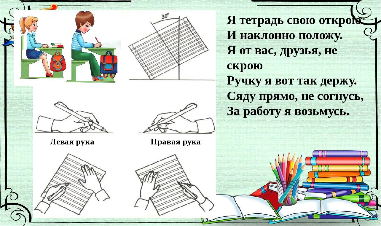Левая рука Правая рука Я тетрадь свою открою И наклонно положу. Я от вас, дру...