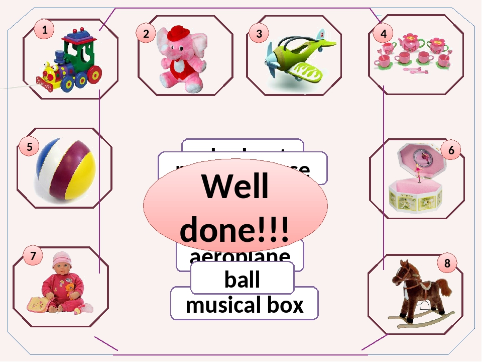 train aeroplane elephant rocking horse tea set doll musical box ball 5 1 2 3...