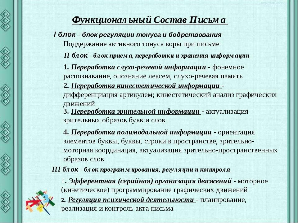 Функциональный Состав Письма I блок - блок регуляции тонуса и бодрствования...
