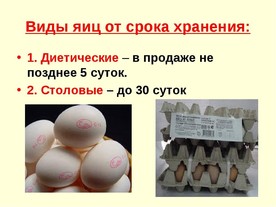 Виды яиц от срока хранения: 1. Диетические – в продаже не позднее 5 суток. 2....