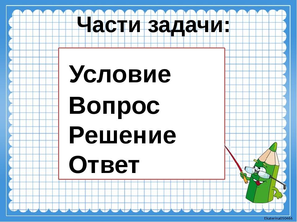 Условие Вопрос Решение Ответ Части задачи: Ekaterina050466