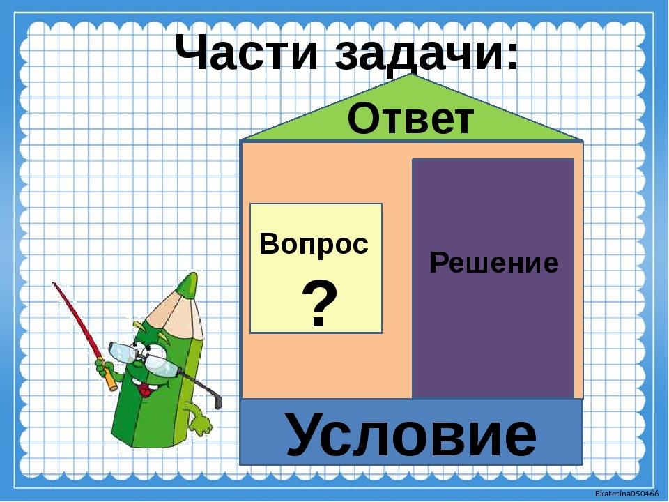 Части задачи: Условие Решение Ответ Вопрос ? Ekaterina050466