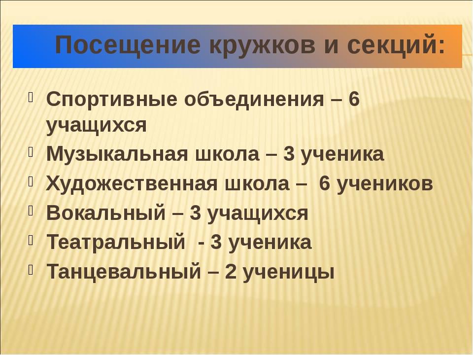 Посещение кружков и секций: Спортивные объединения – 6 учащихся Музыкальная...