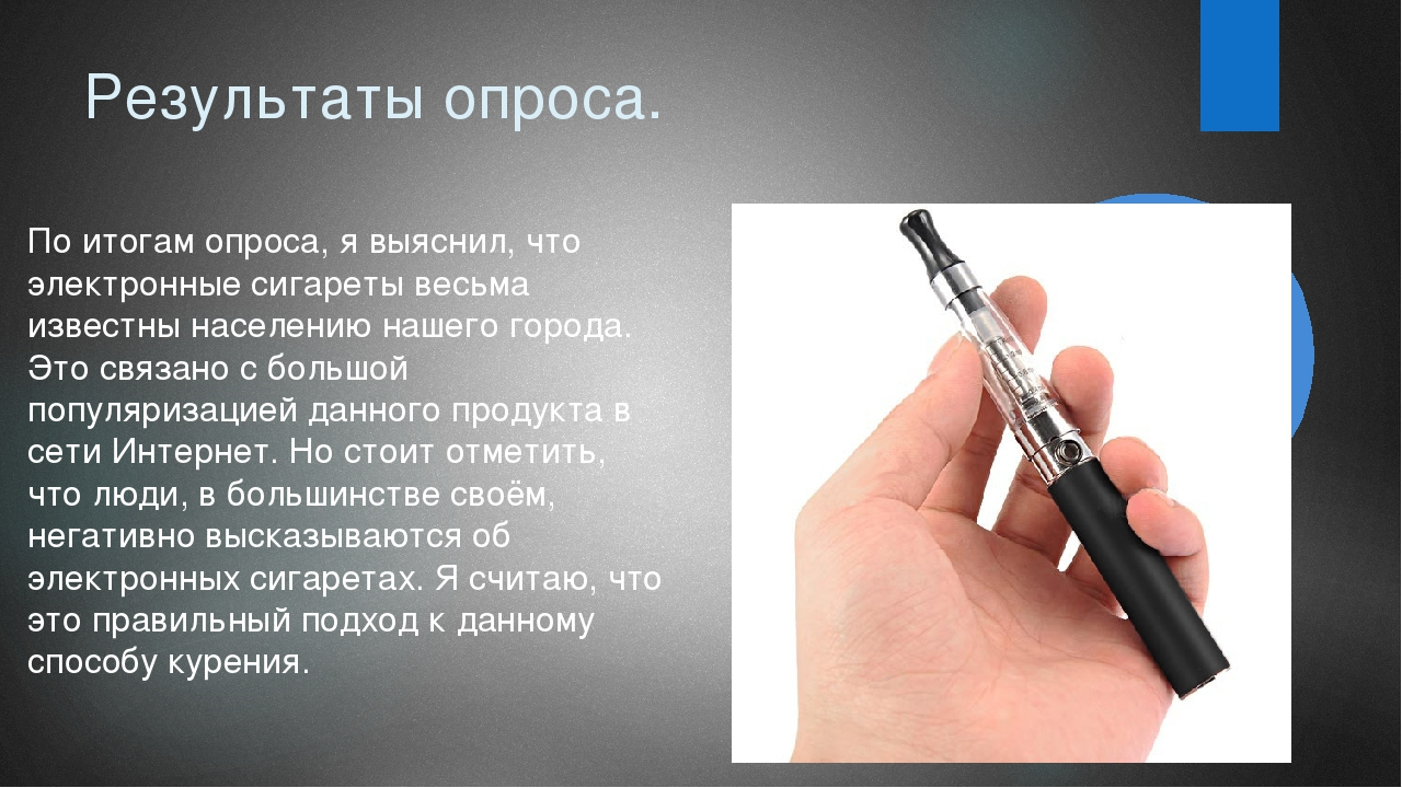 Результаты опроса. По итогам опроса, я выяснил, что электронные сигареты весь...