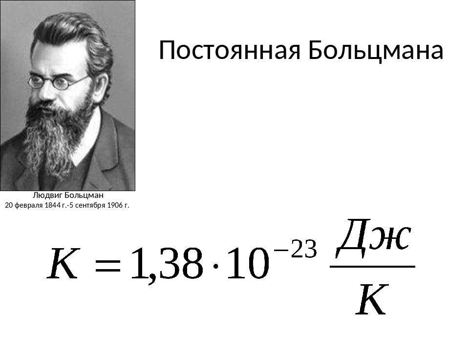 Постоянная Больцмана Людвиг Больцман 20 февраля 1844 г.-5 сентября 1906 г.