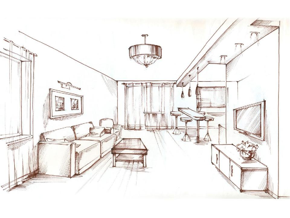 интерьер комнаты рисунки по изо этой