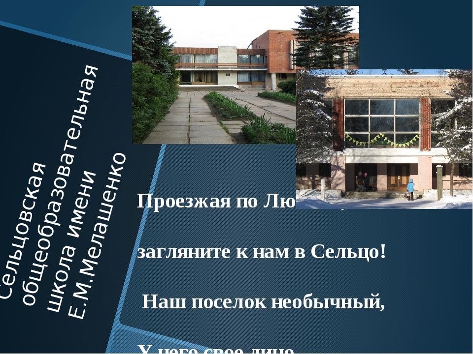 Сельцовская общеобразовательная школа имени Е.М.Мелашенко Проезжая по Любани,...