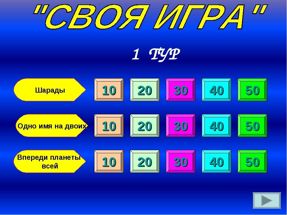 Шарады Одно имя на двоих Впереди планеты всей 10 10 10 20 20 20 30 30 30 40 4...