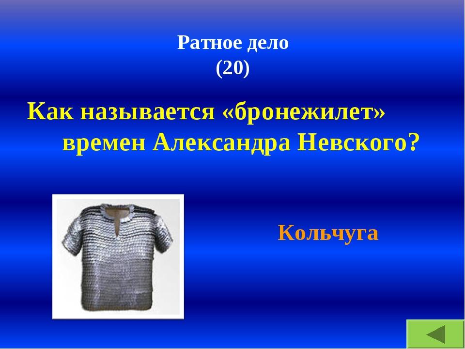 Ратное дело (20) Как называется «бронежилет» времен Александра Невского? Коль...