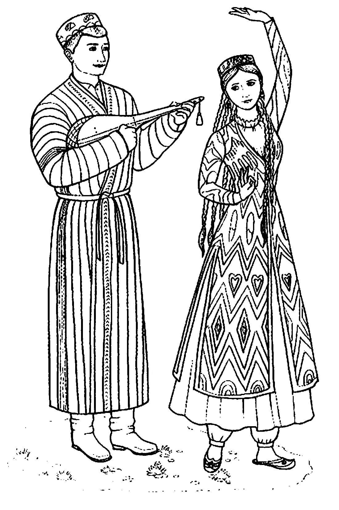 Картинки народный костюм для срисовки