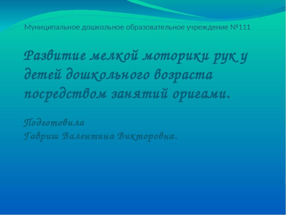 Муниципальное дошкольное образовательное учреждение №111 Развитие мелкой мото...