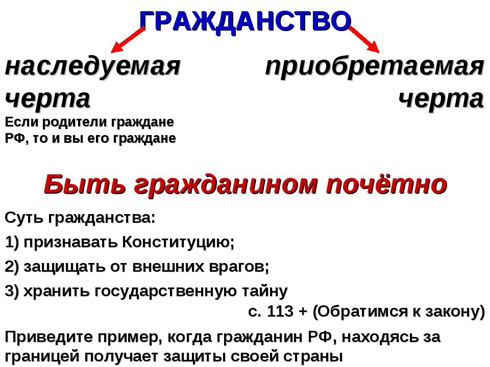 ГРАЖДАНСТВО наследуемая черта Если родители граждане РФ, то и вы его граждане...
