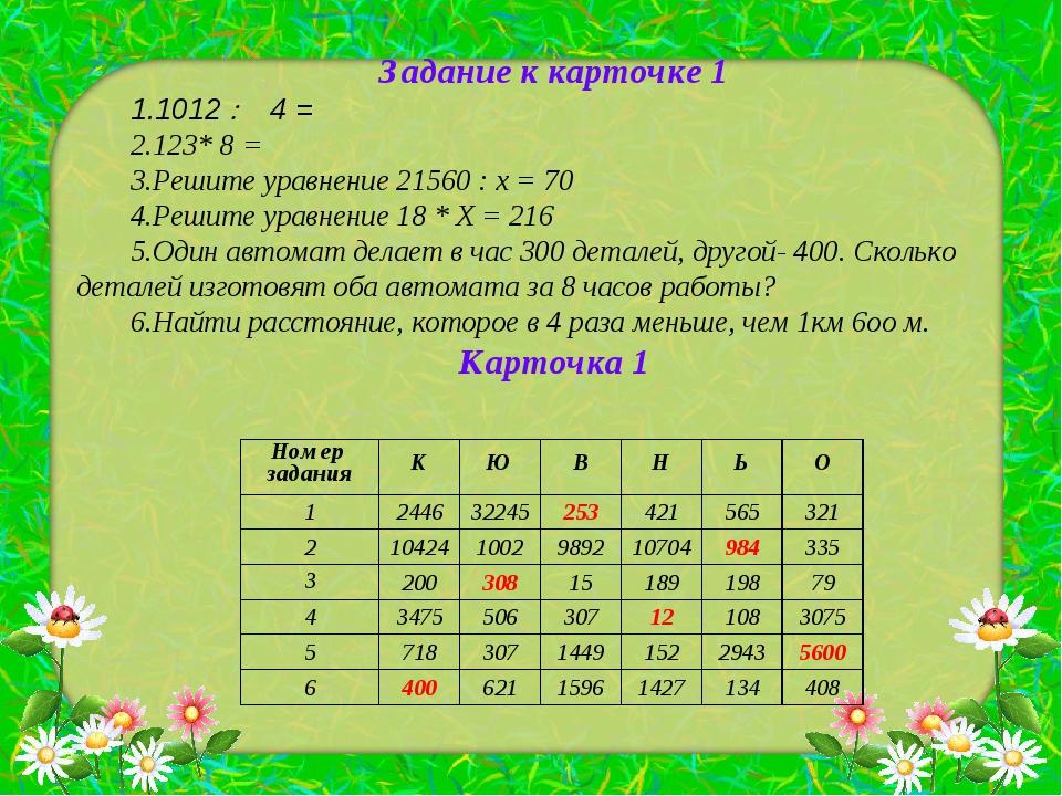 Задание к карточке 1 1012  4 = 123* 8 = Решите уравнение 21560 : х = 70 Реш...