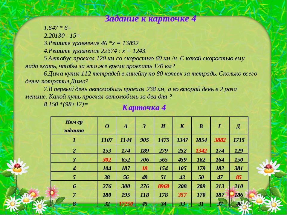 Задание к карточке 4 647 * 6= 20130 : 15= Решите уравнение 46 *х = 13892 Реши...