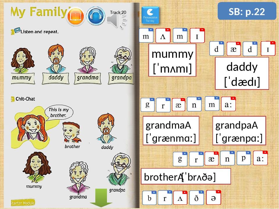 SB: p.22 grandma [ˈɡrænmɑː] mummy [ˈmʌmɪ] daddy [ˈdædɪ] grandpa [ˈɡrænpɑː]...