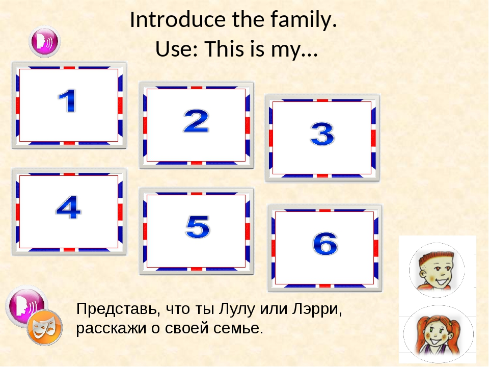 Introduce the family. Use: This is my… brother sister mummy daddy grandma gra...