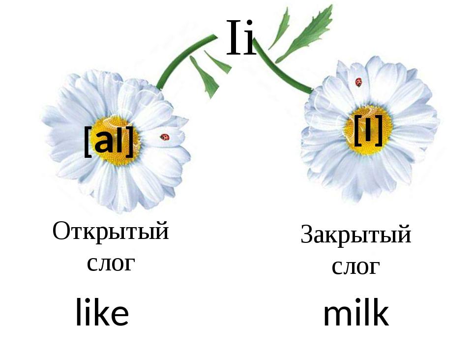 Ii [al] [I] Открытый слог Закрытый слог like milk