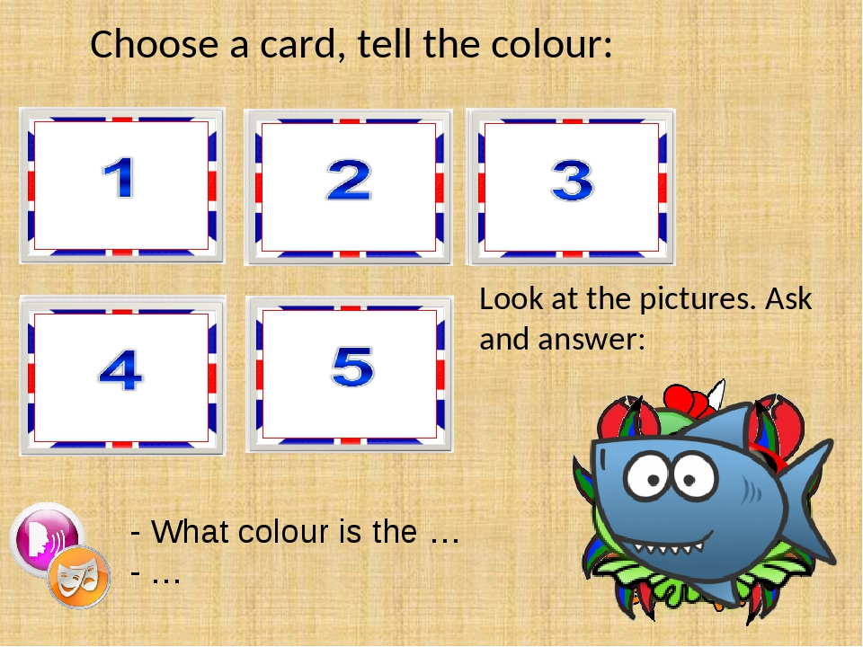 Choose a card, tell the colour: - What colour is the … - … Look at the pictur...