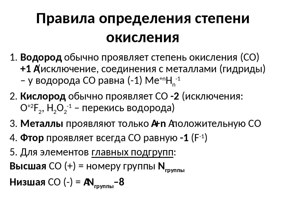 Правила определения степени окисления 1. Водород обычно проявляет степень оки...