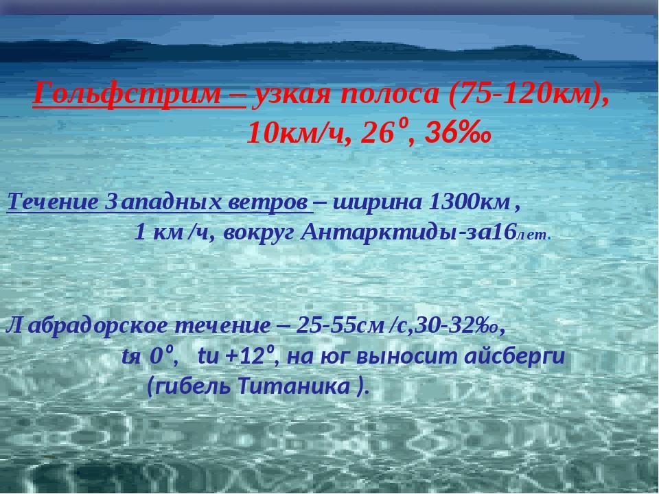 Гольфстрим – узкая полоса (75-120км), 10км/ч, 26⁰, 36‰ Течение Западных ветро...