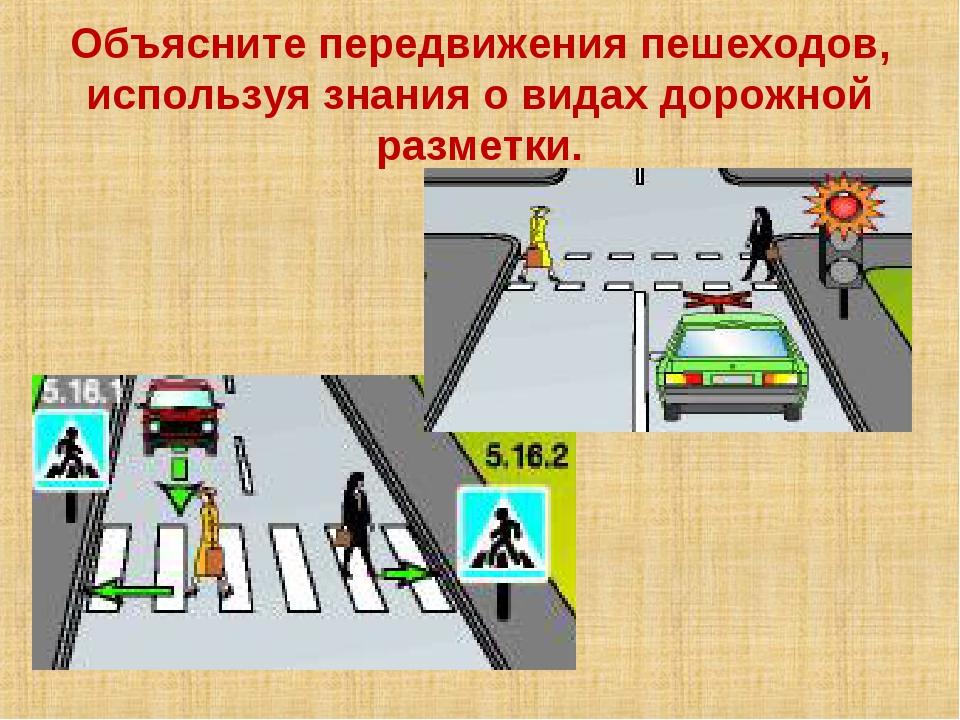 Объясните передвижения пешеходов, используя знания о видах дорожной разметки.