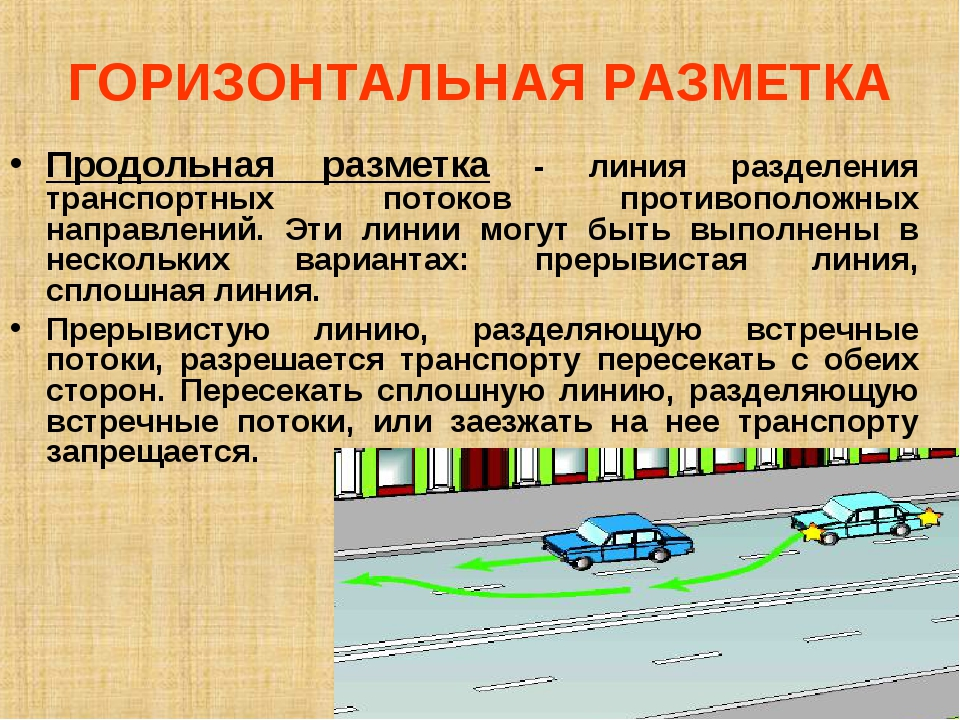 ГОРИЗОНТАЛЬНАЯ РАЗМЕТКА Продольная разметка - линия разделения транспортных п...