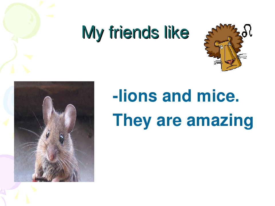 My friends like -lions and mice. They are amazing