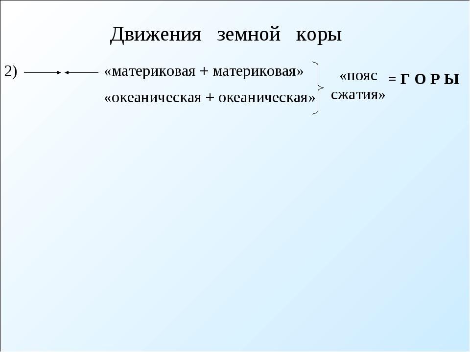 Движения земной коры «материковая + материковая» «пояс сжатия» = Г О Р Ы 2) «...