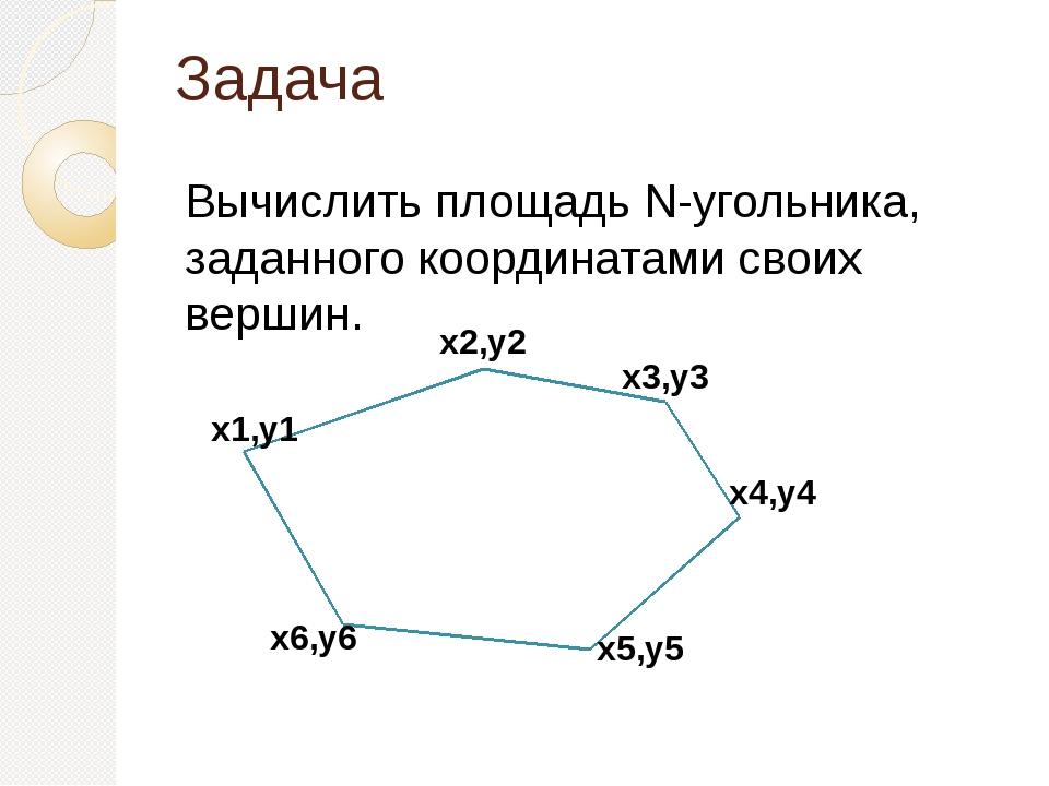 Задача Вычислить площадь N-угольника, заданного координатами своих вершин. x1...