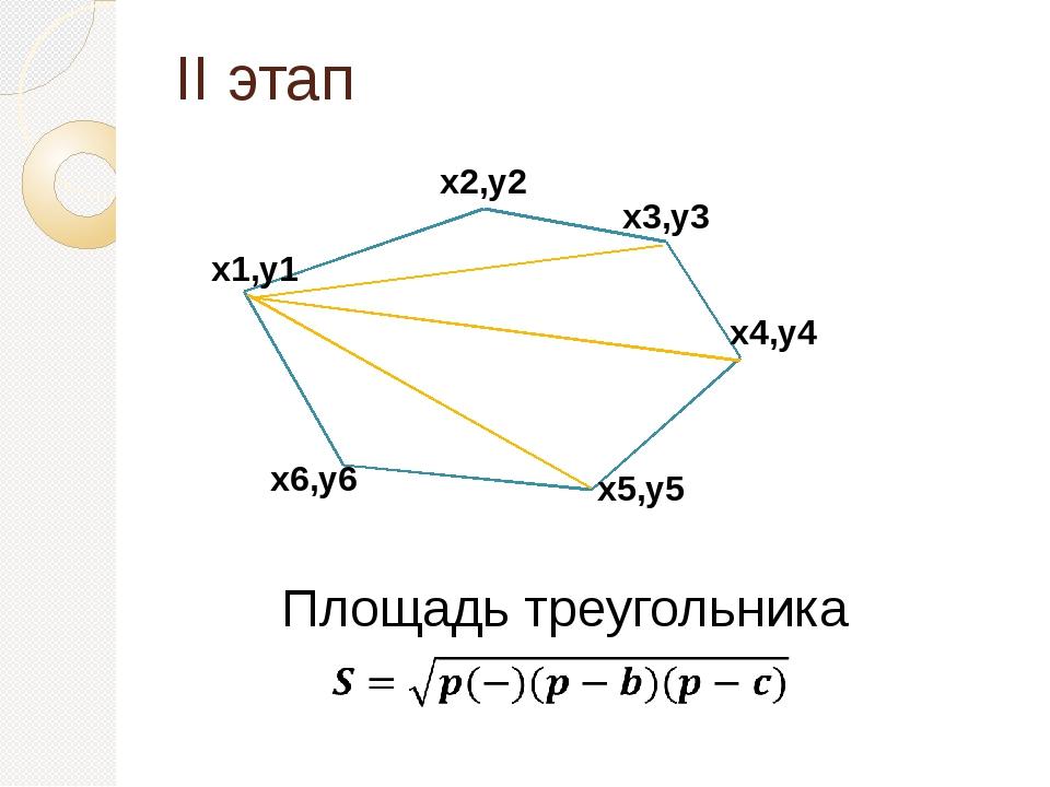 II этап Площадь треугольника x1,y1 x2,y2 x3,y3 x4,y4 x5,y5 x6,y6 1) Нахождени...