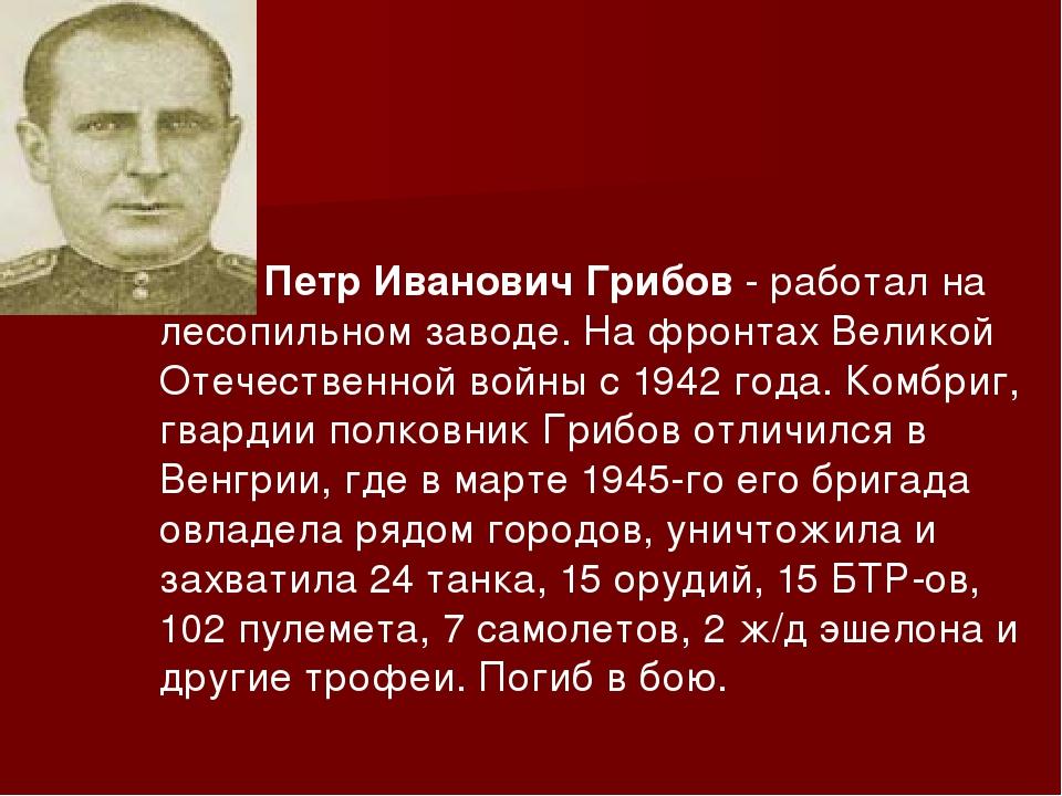 Петр Иванович Грибов- работал на лесопильном заводе. На фронтах Великой Оте...