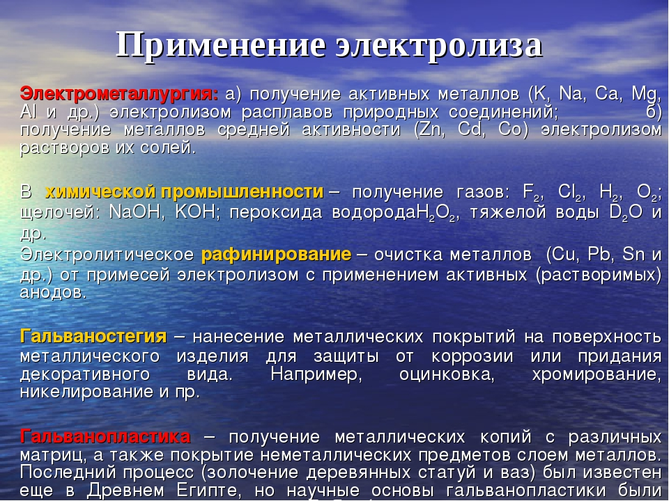 Применение электролиза Электрометаллургия: а) получение активных металлов (K,...
