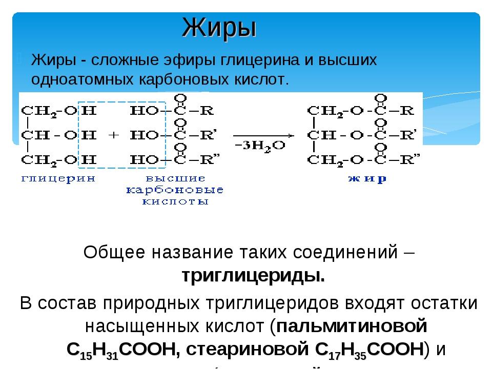 Жиры - сложные эфиры глицерина и высших одноатомных карбоновых кислот. Общее...
