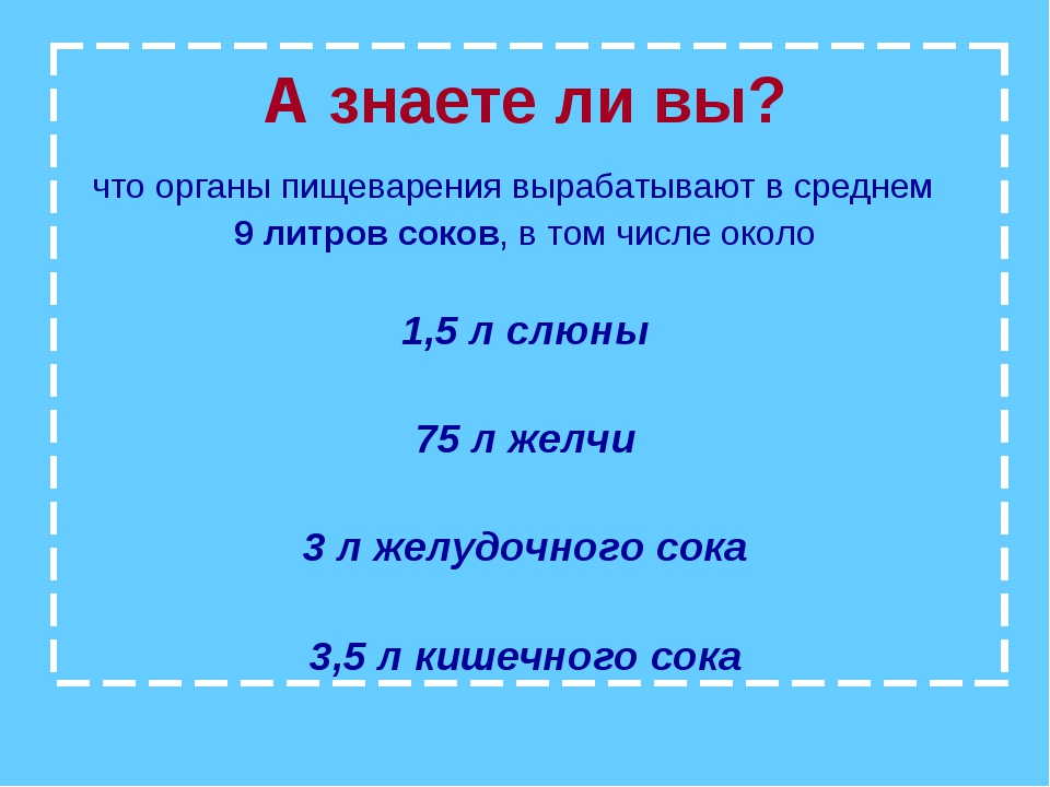 А знаете ли вы? что органы пищеварения вырабатывают в среднем 9 литров соков,...