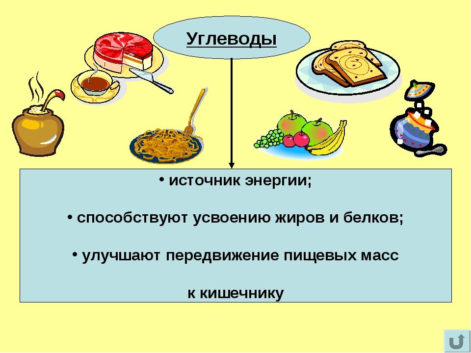 Углеводы Углеводы источник энергии; способствуют усвоению жиров и белков; улу...
