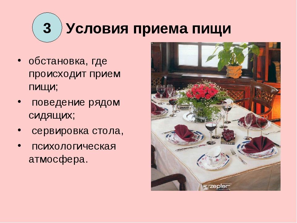 Условия приема пищи обстановка, где происходит прием пищи; поведение рядом си...