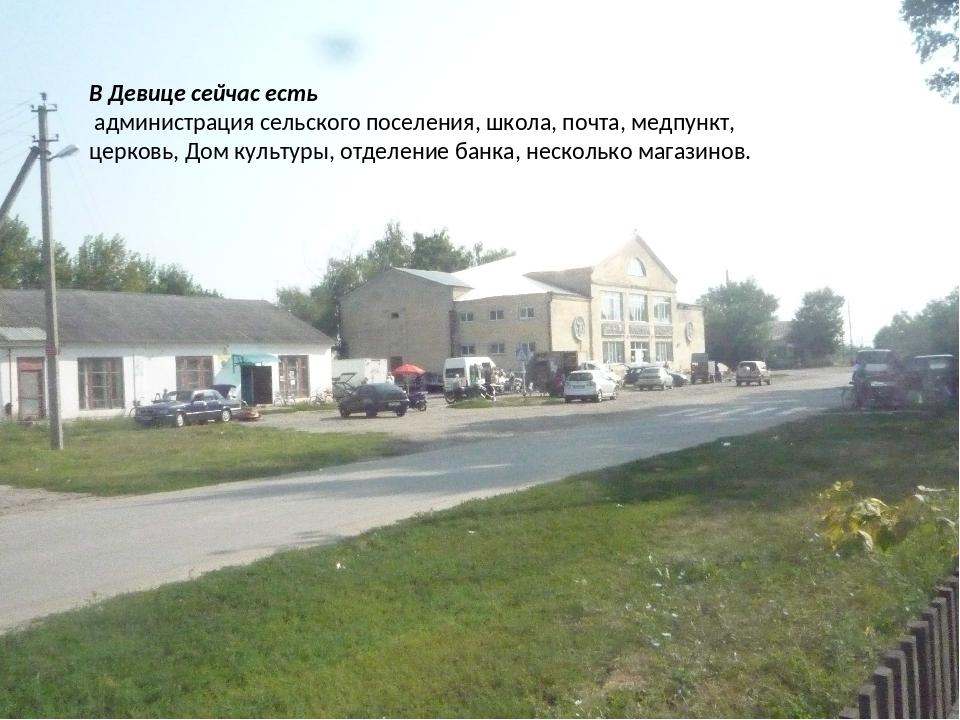 В Девице сейчас есть администрация сельского поселения, школа, почта, медпун...