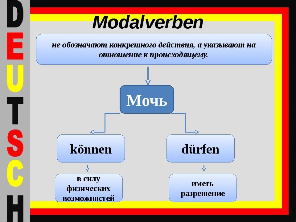 Modalverben не обозначают конкретного действия, а указывают на отношение к пр...