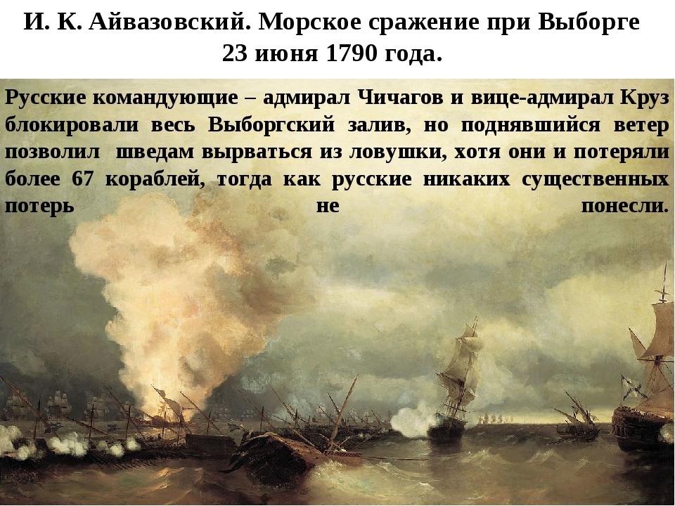 И.К.Айвазовский. Морское сражение при Выборге 23июня 1790года. Русские ко...