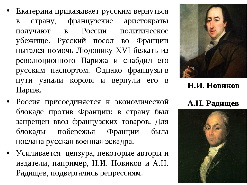Екатерина приказывает русским вернуться в страну, французские аристократы пол...