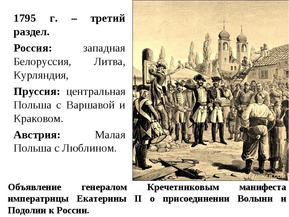1795 г. – третий раздел. Россия: западная Белоруссия, Литва, Курляндия, Прусс...