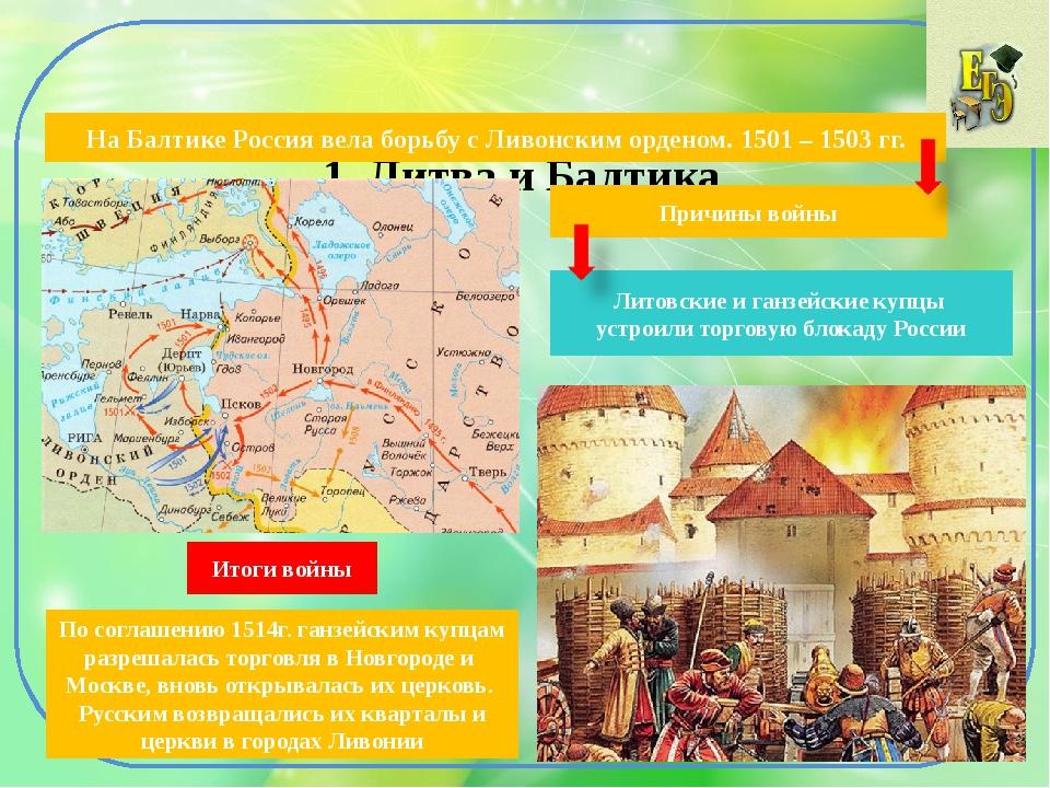 1. Литва и Балтика На Балтике Россия вела борьбу с Ливонским орденом. 1501 –...
