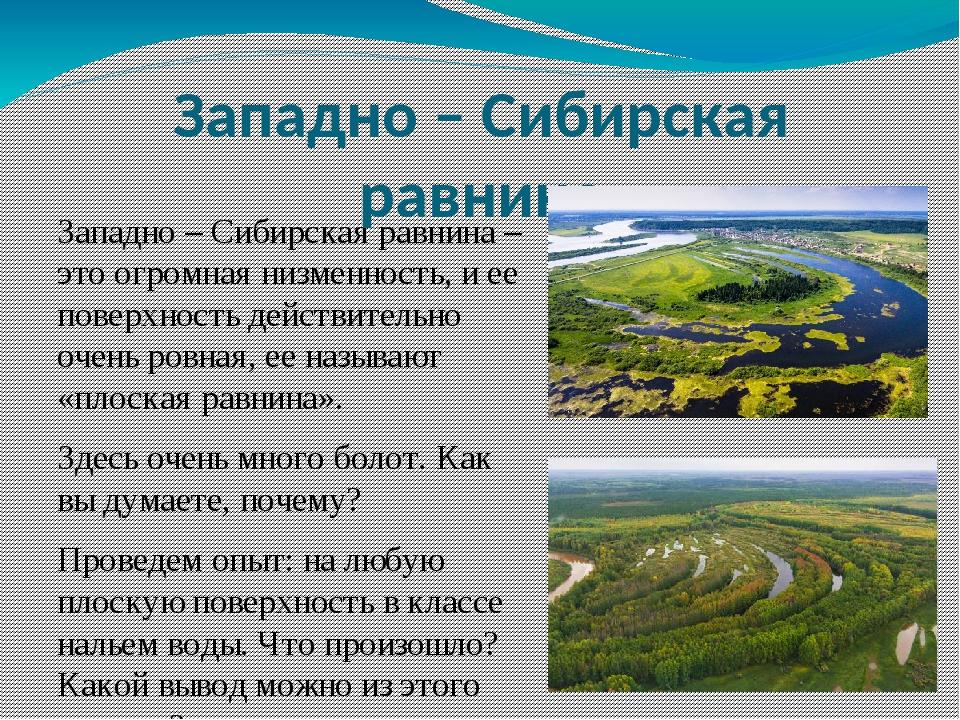 Западно – Сибирская равнина – это огромная низменность, и ее поверхность дейс...