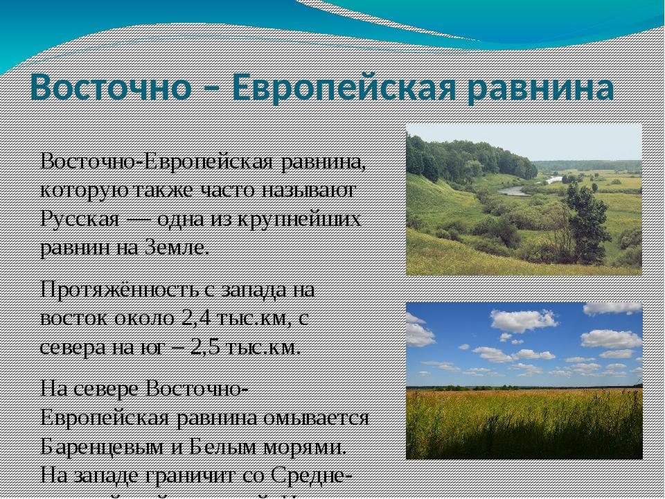Восточно – Европейская равнина Восточно-Европейская равнина, которую также ча...