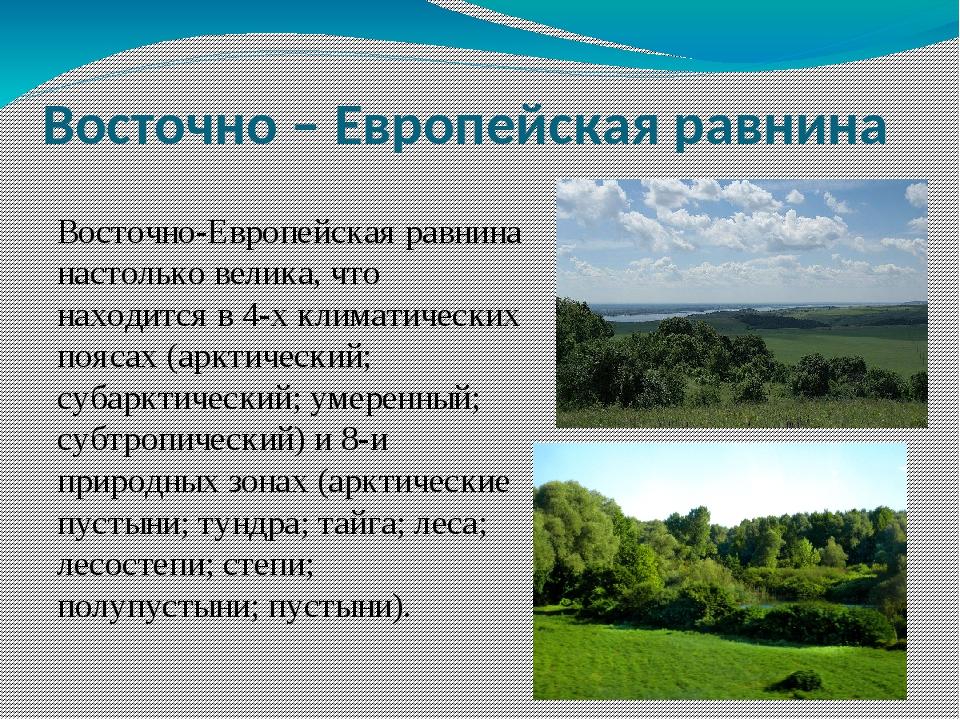 Восточно-Европейская равнина настолько велика, что находится в 4-х климатичес...