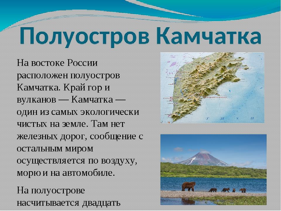 Полуостров Камчатка На востоке России расположен полуостров Камчатка. Край го...