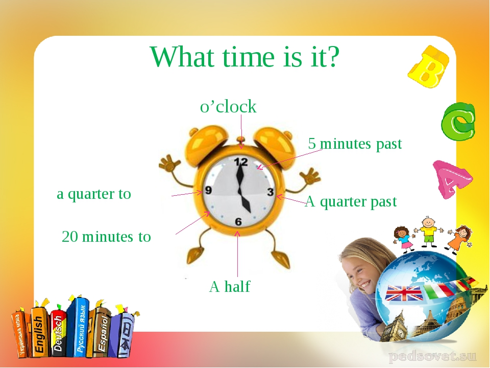 o'clock A quarter past a quarter to A half 5 minutes past 20 minutes to What...