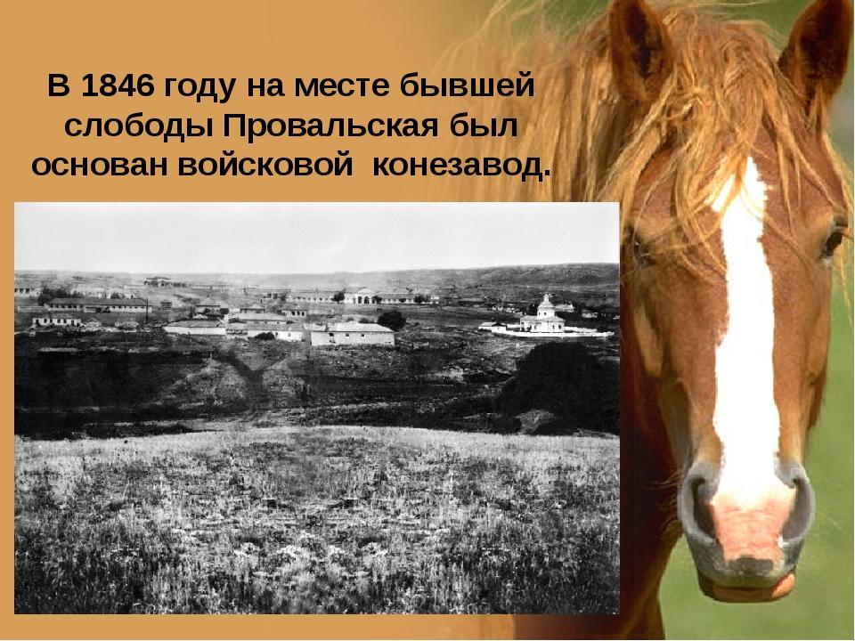 В 1846 году на месте бывшей слободы Провальская был основан войсковой конезав...