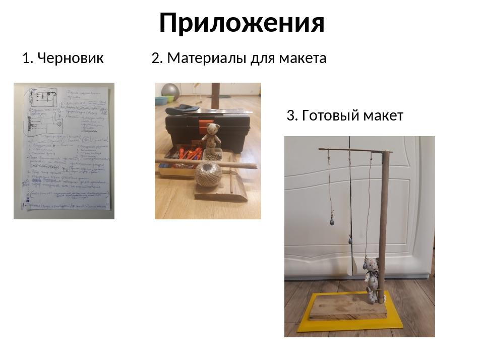 Приложения 1. Черновик 2. Материалы для макета 3. Готовый макет